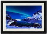 青い山、湖 (N010) 自然風景 壁掛け黒色木製フレーム装飾画 絵画 ポスター 壁画(40x60cm)