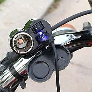【Molto bello technology】バイク用 USBポート スイッチ付き 防水 電源 USB電源 充電器 電源ポート バイク ハンドル 用 シガーソケット電源 汎用取り付けセット USBチャージャー