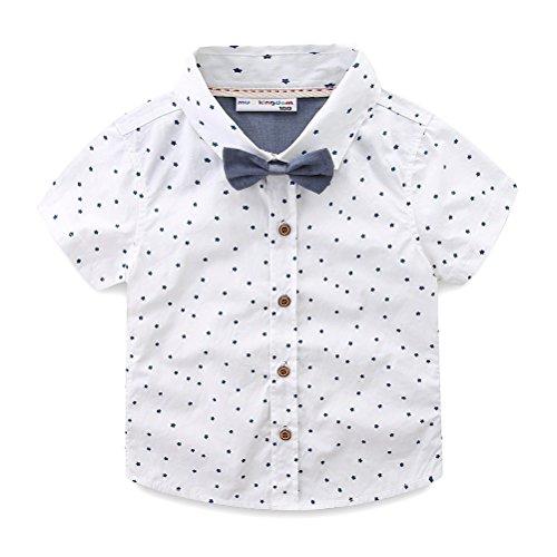 LittleSpring キッズ ネクタイ付きシャツ 半袖 シャツ yシャツ ワイシャツ 子供服 男の子 フォーマルシャ...