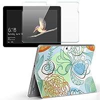 Surface go 専用スキンシール ガラスフィルム セット サーフェス go カバー ケース フィルム ステッカー アクセサリー 保護 フラワー 花 フラワー イラスト 005010