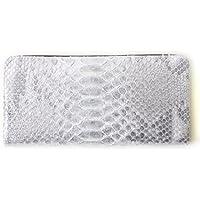 75a446893c39 日本製 Arukan アルカン ダイヤモンドパイソン × 牛革 微粒箔加工 レザー ラウンドジップ 長財布