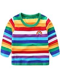 LittleSpring夏 ボーイズ 男の子 虹 ボーダー柄 半袖tシャツ 長袖Tシャツ ランニングシャツ 子供服