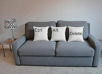 Set of 3RoomCraft Ctrl Alt Delete枕covers-cushions 14x14 inches - Covers Only P4S3-W-1-178-14