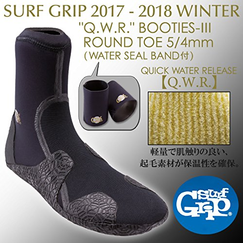 "SURFGRIP 日本正規品 ""Q.W.R"" BOOTIES-3 ROUND TOE 5/4mm WATER SEAL BAND付 サーフブーツ"
