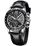 [メガリス]MEGALITH 腕時計 メンズ時計レザー防水 クロノグラフ腕時計 多針アナログクオーツウオッチ ルミナス夜光 日付表示 ラグジュアリー おしゃれ ビジネス カジュアル メタル男性腕時計 ブラック