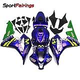 Sportfaiirngs バイク カウル 外装パーツセット 適合 ホンダ Honda CBR600RR CBR600 RR F5 2007 2008 年 青緑 M フルカウルセット