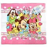 Disney ディズニー 綿100% ハンドタオル ディズニーベイビー ミッキー ミニー ドナルド デイジー プルート グーフィー ピンク 白 ホワイト【並行輸入品】