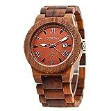 bestjpshop 高級新木製腕時計高品質のクラフトウッドウォッチ(赤サンダルウッド)