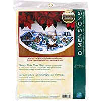"Dimensions ""Sleigh Ride"" Tree Skirt Counted Cross Stitch Kit, 110cm Round"