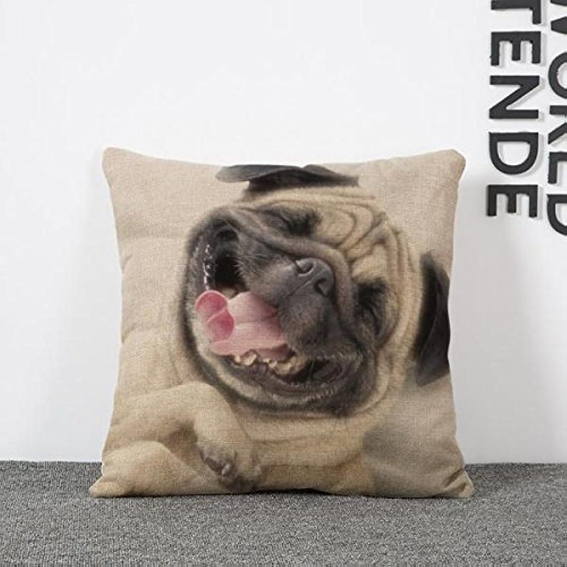 検出可能風刺戦術クッションカバー 犬 枕 装飾 45 * 45cm 漫画 ソファ ベッド コットン
