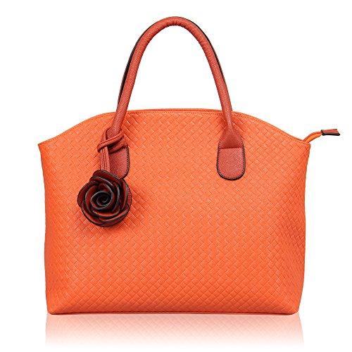 [ハインズ・イーグル]HynesEagleハンドバッグレディーストートバッグ人気鞄PUレザー母の日ギフト(オレンジ)