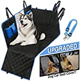 Dog Car Seat Cover Waterproof Hammock protects all back-seat area. Mesh Viewing Window, 4 Storage Pockets, Zipper Side Flaps to protect side doors. BONUS Seat Belt Leash, ideal for Cars, SUVs & Trucks