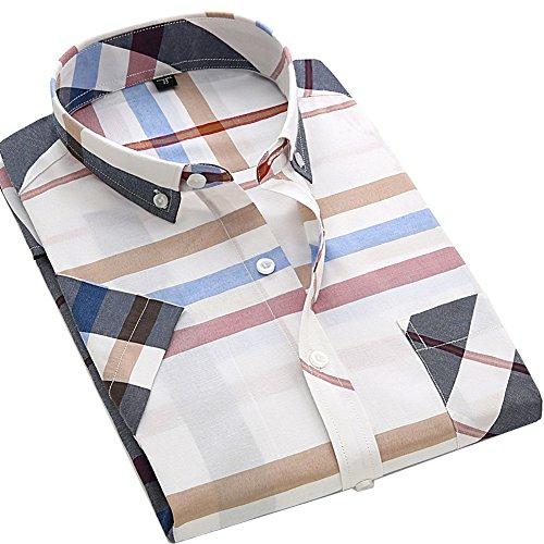 S.Flavor メンズ 半袖 チェック柄 ボタンダウン カジュアルシャツ