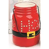 赤セラミックMason JarクリスマスランタンW / LEDライトHo Ho Hoクリスマスサンタ6x 3.5Blossomバケット