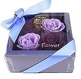 【morningplace】 ソープフラワー ギフト ボックス 石鹸の花 プレゼント 誕生日 母の日 などに (パープル)