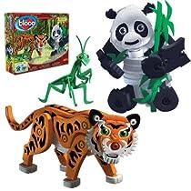 Bloco Toys ブロコトイズ ブロック 知育玩具 トラ & パンダ BC-25008 カマキリ タイガー 笹の葉 お風呂で遊べるおもちゃ 5歳~