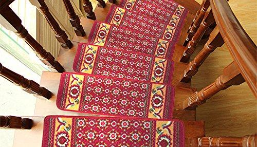 [해외]DEWEL 계단 매트 카펫 유럽식 미끄럼 방지 가공 빨 방음 흡음 에코 안전 부드러운 기분 좋은 촉감 좋은 클래식 직사각형 폴리 아미드 섬유 100 %/DEWEL Staircase mat carpet Western style anti-slip process washable soundproof sound absorption...