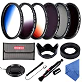 レンズフィルター 52MM CPL+ND4+ND8 フィルターキット PLフィルター 光の反射除去+ND4 ND8フィルター 減光フィルター 長時間露光撮影+グラデーションフィルターキット(グレー/ブルー/オレンジ)3枚 色彩効果用+花形レンズフード+マルチレンズフード+レンズキャップ+クリーニングクロス+クリーニングペン+落下防止ストラップ+フィルターケース(6枚用)Beschoi 13点キット