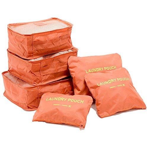 c3213483a8 トラベルポーチ6点セット メンズ レディース 旅行 旅行用品 トラベルグッズ 海外旅行 便利グッズ 収納 整理整頓 (オレンジ)