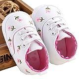 (ミストーク)MissTalk 花柄 やわらかい 軽い 女の子ベビーシューズ キッズスニーカー ベビー靴 ファーストシューズ 出産祝い (12cm, ホワイト)