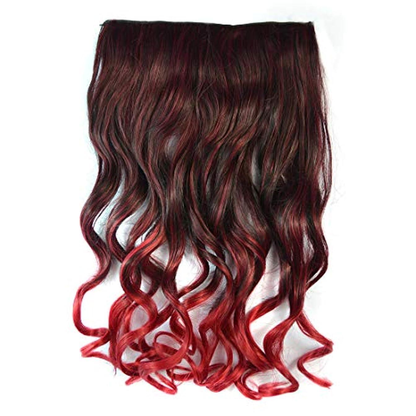 アナリストびっくり士気WTYD 美容ヘアツール ワンピースシームレスヘアエクステンションピースカラーグラデーション大波ロングカーリングクリップタイプヘアピース