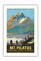 ピラトゥス山 - ルツェルン、スイス - 歯車 鉄道 - ビンテージな鉄道旅行のポスター c.1958 - プレミアム290gsmジークレーアートプリント - 61cm x 91cm