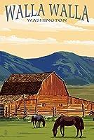 ワラワラ、ワシントン州–レッドバーンand Horses 16 x 24 Giclee Print LANT-55568-16x24