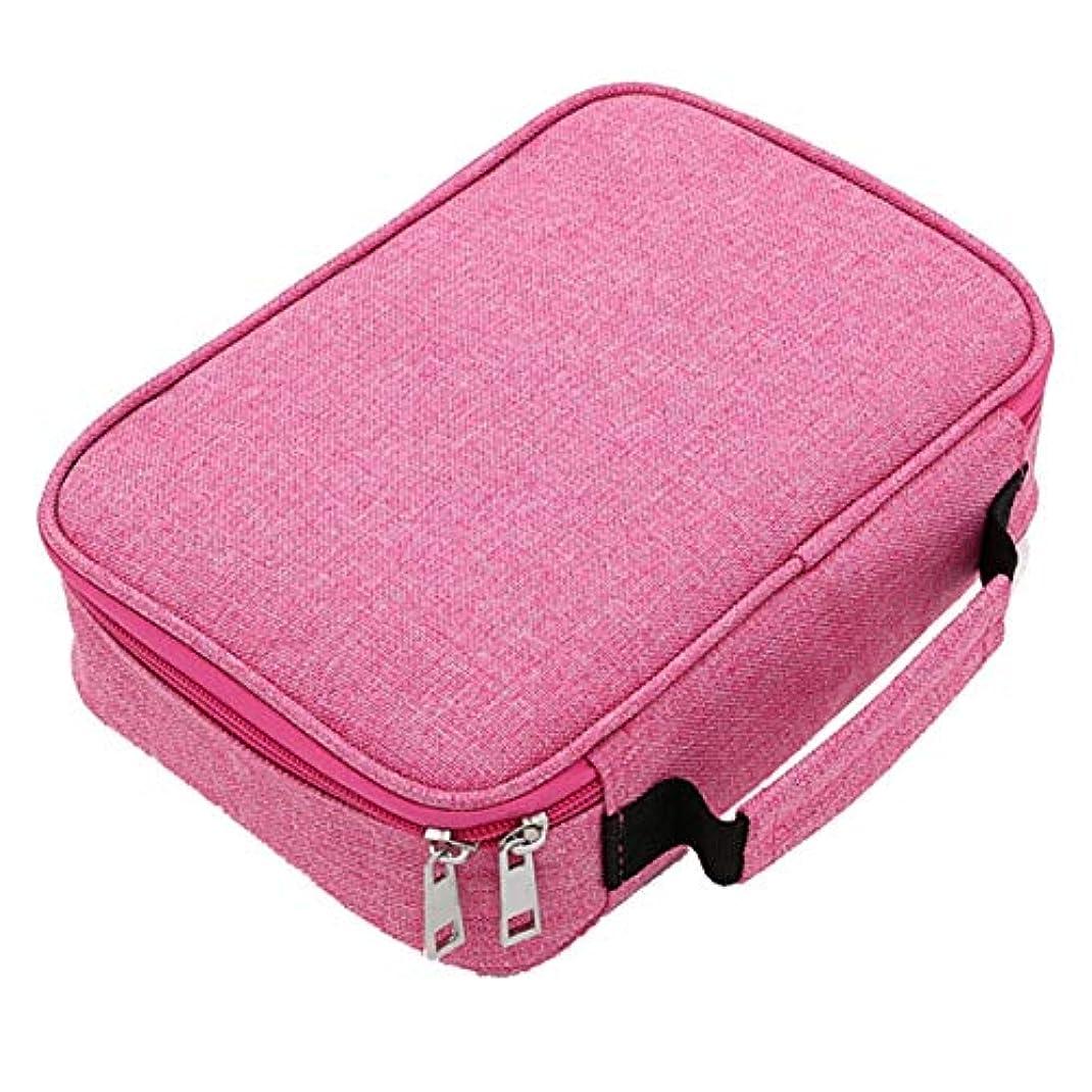 衝突する座標予測子大容量多機能72穴カラーペンシルバッグ男の子と女の子のスケッチブラシストロークペンケース収納袋-ピンク