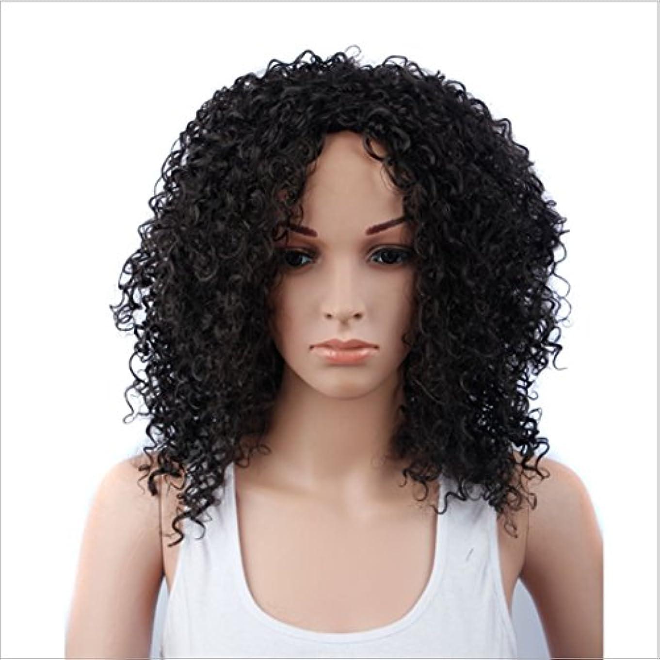 衣装セントバナナJIANFU 女性のための15inch合成高温ウィッグロングバンズの短いカーリーウィッグヘアナチュラルカラーウィッグ耐熱性210g(ワインレッド、ブラック) (Color : ブラック)