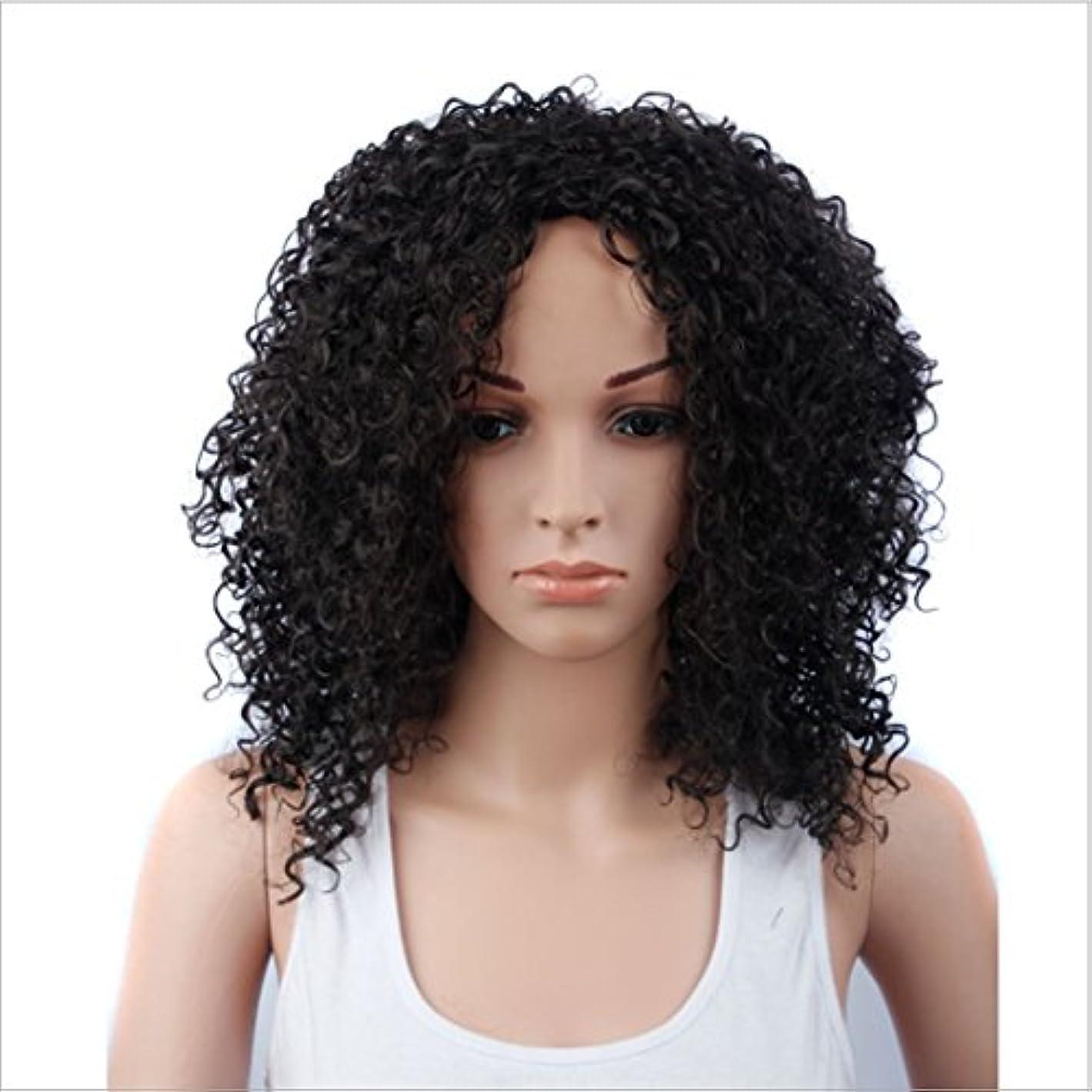 ルーム共産主義防止JIANFU 女性のための15inch合成高温ウィッグロングバンズの短いカーリーウィッグヘアナチュラルカラーウィッグ耐熱性210g(ワインレッド、ブラック) (Color : ブラック)