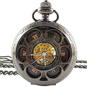 [モノジー] MONOZY アンティーク 手巻き 機械式 懐中時計 - クロームホイール - 両面 スケルトン ハーフハンター 【収納袋、化粧箱】  レトロ 懐中時計