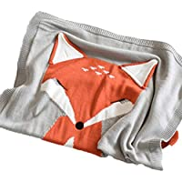 Kid 'sニットスロー毛布フォックスパターン幼児ベビーベッドSleepingカバーCrochet Blanket for Children and赤ちゃん昼寝またはPlaying 43.3 × 28.74 グレー