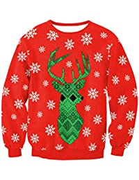 Zhuhaitf クリスマスのファッション レディース Christmas Women Reindeer Printed Sweater Pullover Long Sleeve Sweaters for Women On...