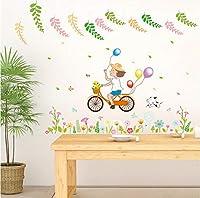 Wangxiaojie サイクリングガール漫画ウォールステッカー田舎の自然風景花バルーンかわいい犬デカール子供部屋リビングルーム装飾