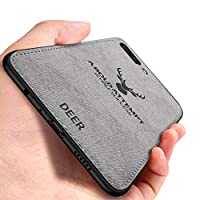 Oppo R11 Plus ケース, CHENXI 鹿の頭の模様 電話ケース マッチングデニムキャンバスPC + PU + TPU 二重構造強力 耐震ケース 衝撃防止 滑り止 全面保護 カバー ために Oppo R11 Plus - グレー