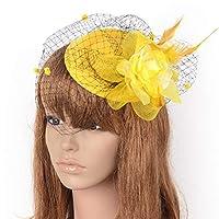 ヘッドドレス帽子女性のためのベールフラワーカクテルウェディングティーパーティーハット,Yellow