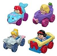 Little People フィッシャープライス ディズニープリンセス 車輪プッシュカーセット アリエル、シンデレラ、白雪姫、ラプンツェル - S4