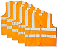 TR Industrial TR88050-5PK ANSI Compliant Safety Vests with Pockets and Zipper (Pack of 5)%カンマ% Medium%カンマ% Orange [並行輸入品]