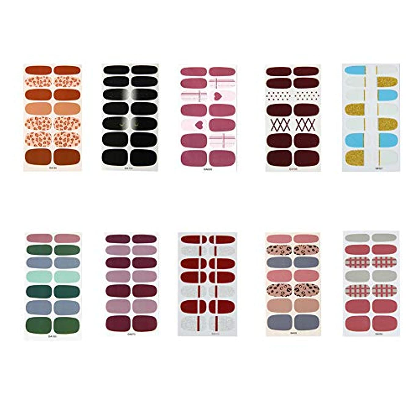 PoonikuuDIYネイル ネイルアートアクセサリー ネイルデザイン ネイルステッカー ネイルシール ネイル飾り 可愛い高級感綺麗 10枚10類