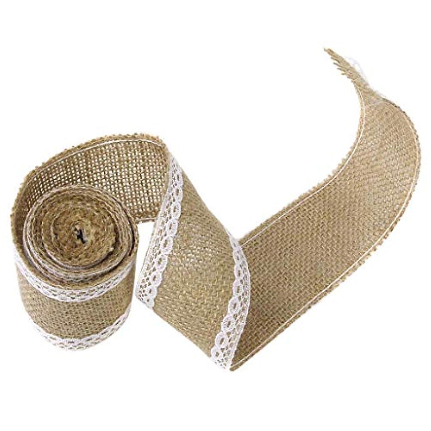聖域不名誉候補者Onior リボンリネン麻布手芸ギフト装飾レースでは、錆びた工芸を作るスクラップブックは、弓と素朴な結婚式の装飾2を包む
