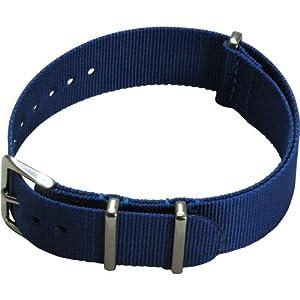 [カシス]CASSIS TYPE NATO ナトータイプ時計ベルト 20mm ブルー ファブリック時計ベルト #141.601S 064 020