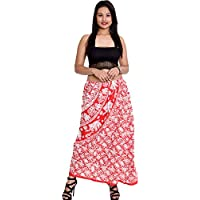 Indian 100% Cotton WomenGirl Animal Print Red Color Long Skirt Plus Size ({Waist Size 40-44 inches})