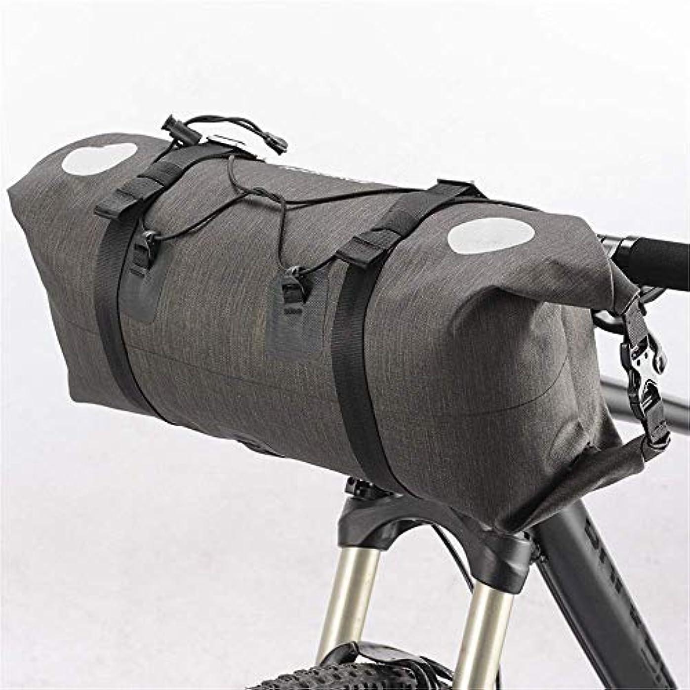 に対応スーツケース重荷サイクリングサドルバッグ、自転車バッグ防水14Lハンドルストレージバイクバッグ付き取り外し可能なショルダーストラップとフロント固定メッシュバイクフロントフレーム (Color : Grey, Size : 14L)