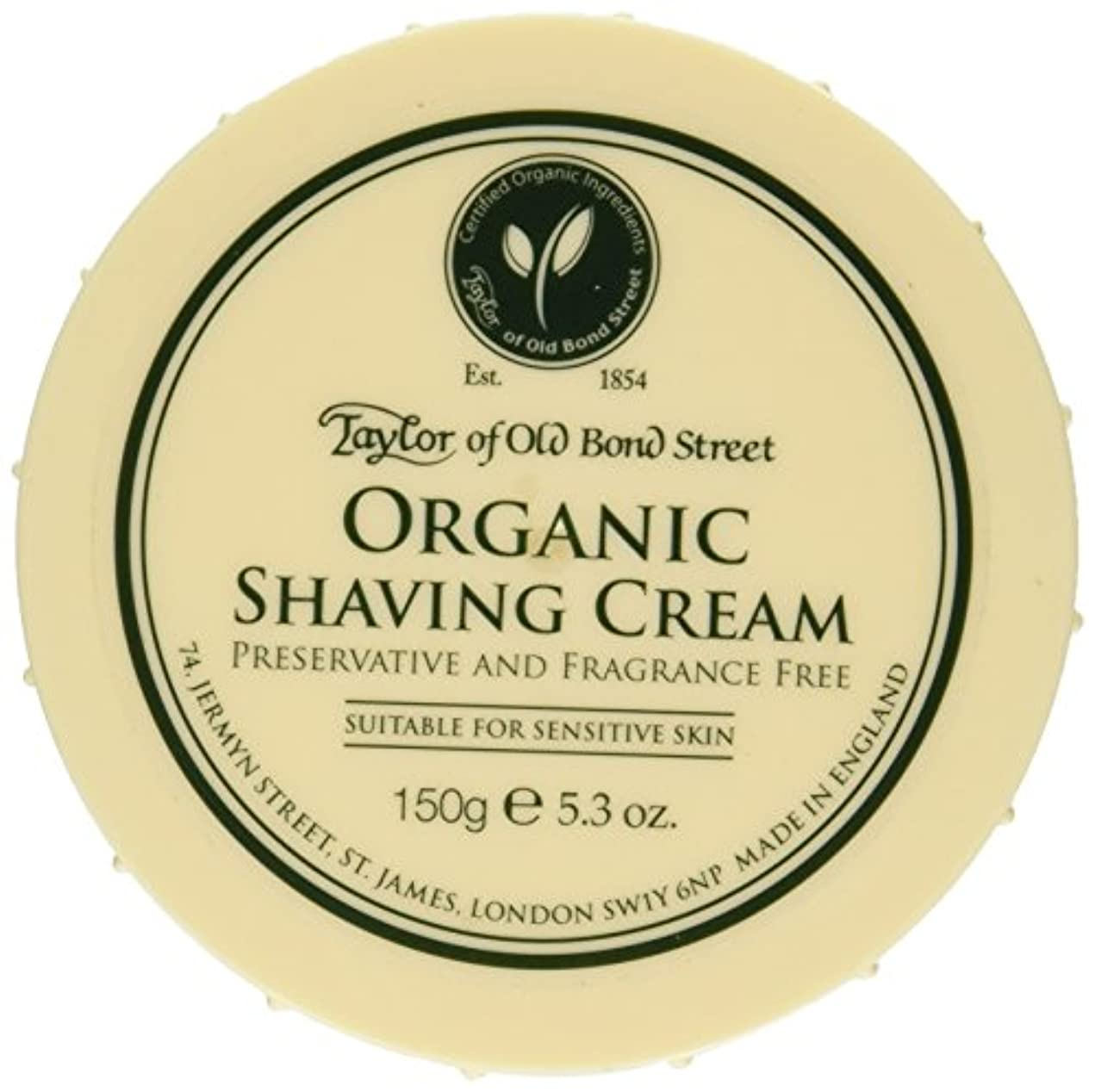 倉庫バスルームフォルダTaylor of Old Bond Street Organic Shaving Cream w/ Aloe & Jojoba *New* 5.3 oz. by Taylor of Old Bond Street