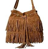 (グラート) GRART レディース 鞄 巾着 型 フリンジ ショルダー 斜めがけ ポーチ バッグ (ブラウン)
