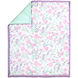 Pink and Mint Green Floral and Dot Cotton Baby Crib Quilt by The Peanut Shell by The Peanut Shell