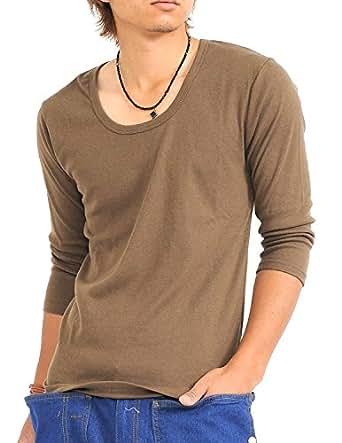 (スペイド) SPADE 七分袖Tシャツ メンズ Vネック Uネック Tシャツ 七分丈 無地 【q922】 (M, U×カーキ)