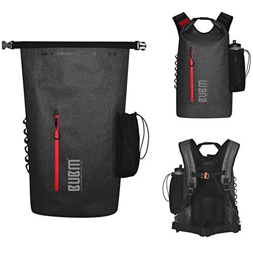 防水バッグパック 防水リュック ドライバッグ 多機能 アウトドア パック ツーリング収納袋 登山 釣り 旅行用 全体的な防水 大容量 25-35L超軽量 + iphone8 Plus/7 防水ケース スマホ用(黑)