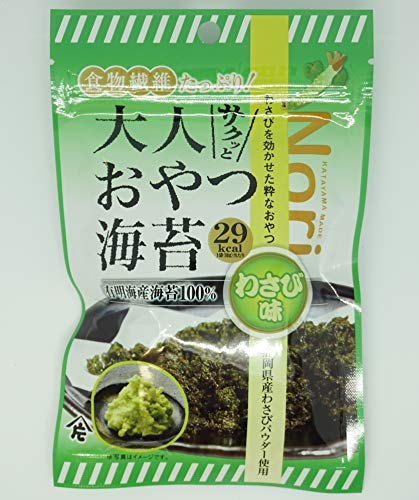 素材菓子 味付海苔 サクッと大人おやつ海苔 (わさび) 10g×10袋入