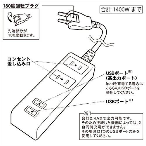 TOPLAND(トップランド)『USB付きタップ1.5m(M4213)』